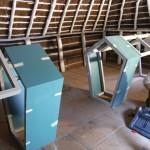 Instalación de expositores del Centro de Visitantes Poblado de la Plancha en Doñana